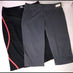Bundle of Fila Midrise Workout Capris Black Gray